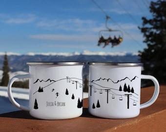 Ski Lift Camp mug, anniversary gift tin, Ski decor, Travel lover gift Camping gear, Campfire mugs Ski gifts custom enamel mug
