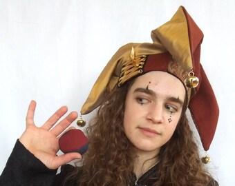 52cbe853e3f jester hat   red   gold   renaissance headwear   fool costume