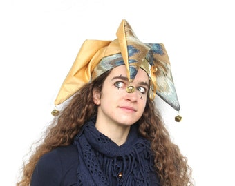 jester hat   gold silk and seafoam   renaissance headwear   fool costume 47e5d933bc4