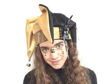 0fd60a70d56 jester hat   black   gold   renaissance headwear   fool costume