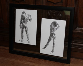 set of triagular figure studies in float frame, original art, man & woman, couple, figure study, set drawings, triangles and shapes, shading