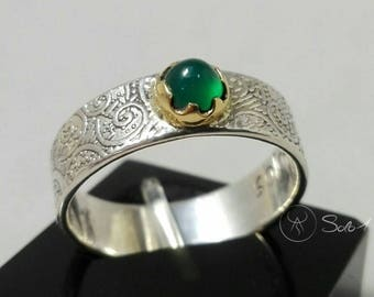 Emerald Ring in Gold 18 K and silver 925