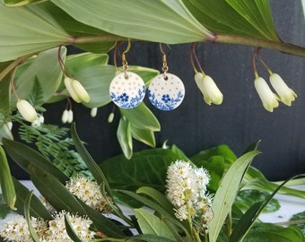 Dark Blue Spring Floral Earrings with Gold Luster