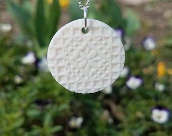 Small, Hand Carved, Porcelain, Circular, Pendant, Geometric