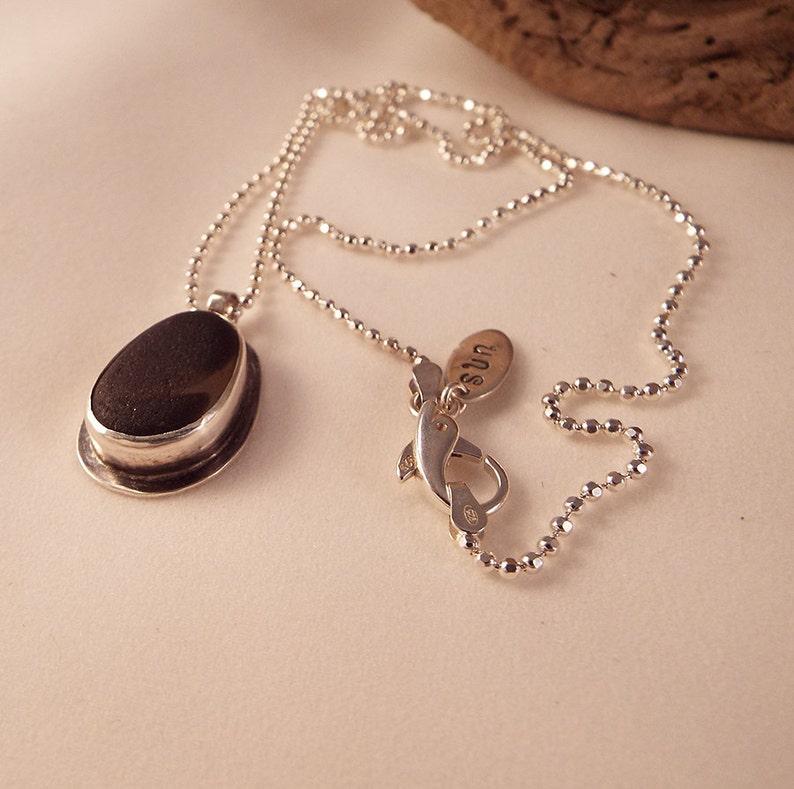 Minimalistic French Gray Multi Sea Glass Sterling Silver Pendant 20 Necklace Dolphin Clasp