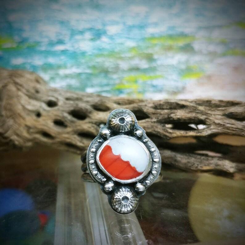 Davenport Orange White Sea Glass Urchin Sterling Silver Statement Ring Size 6.75 6 34