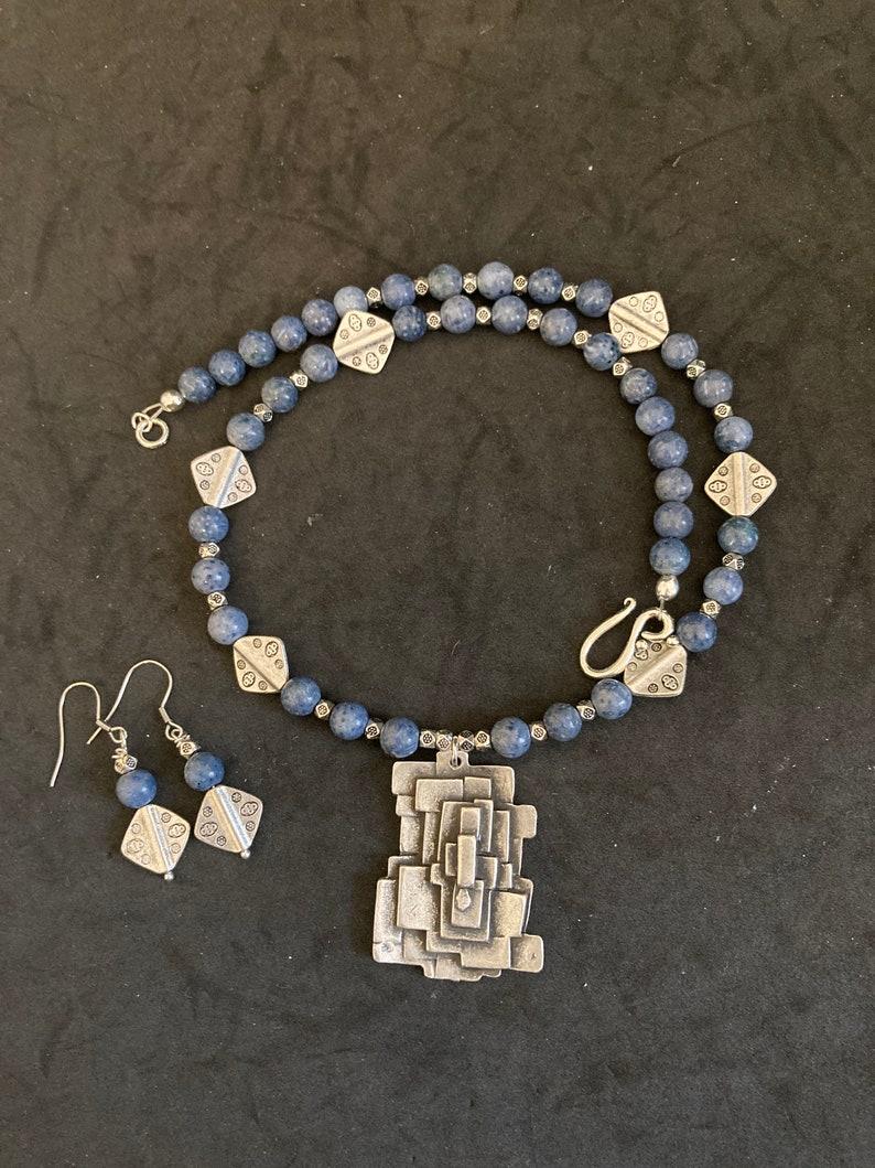 BLUE DENIM LAPIS Necklace and Earring Set