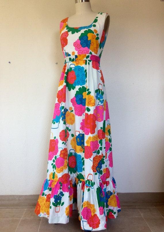 1960s Malia floral maxi dress - image 3