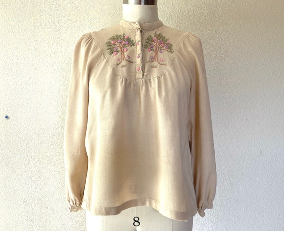 1960s Embroidered rayon blouse
