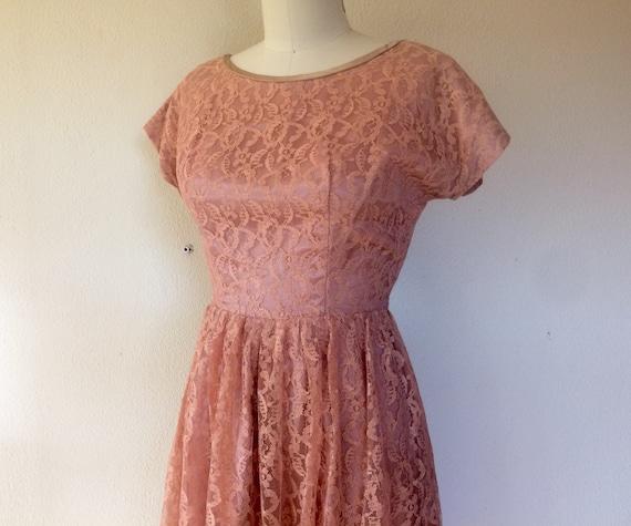1960s Dusty rose lace dress