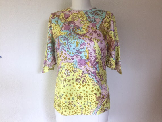 SALE 1960s Psychedelic print blouse - image 2