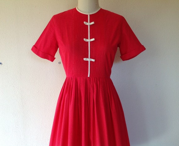 1960s red polka dotted cotton day dress