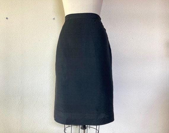 1950s Black silk pencil skirt