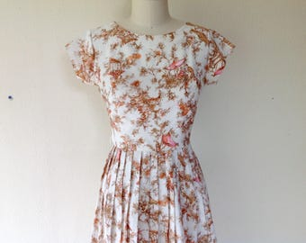 1950s Day dress with watercolor-like print