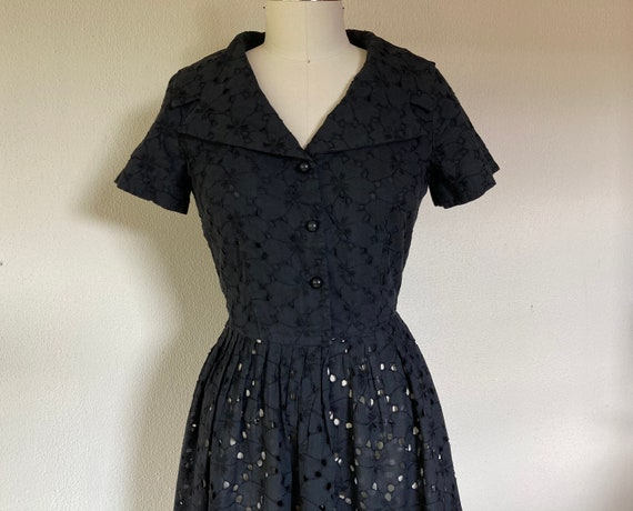 1960s Black cotton eyelet dress