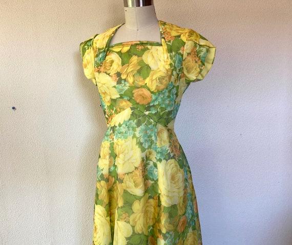 1960s yellow floral maxi dress