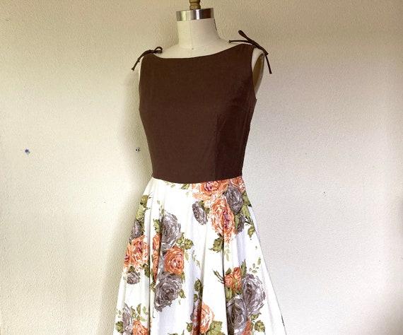 1950s Rose print floral cotton dress