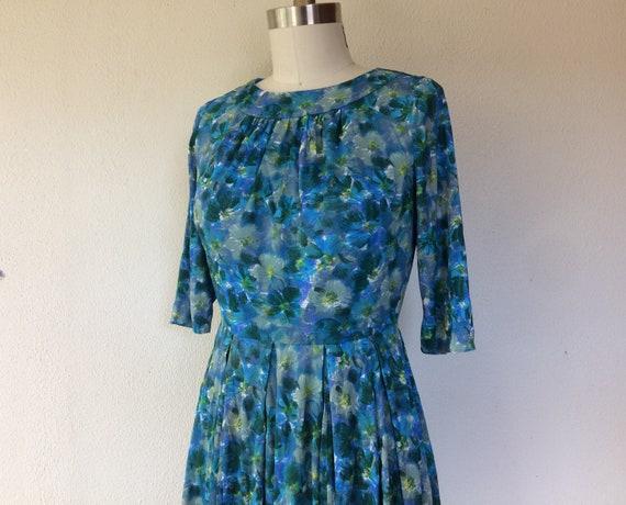 1950s Blue floral nylon dress