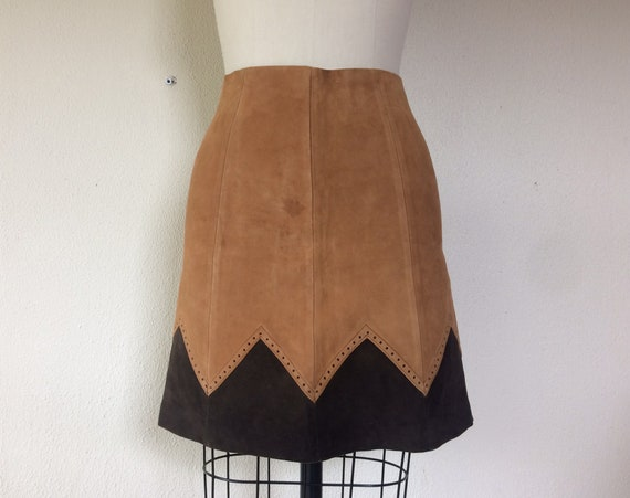 1960s Two tone suede mini skirt