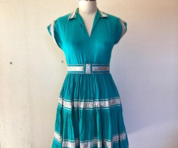 1950s Turquoise cotton patio dress
