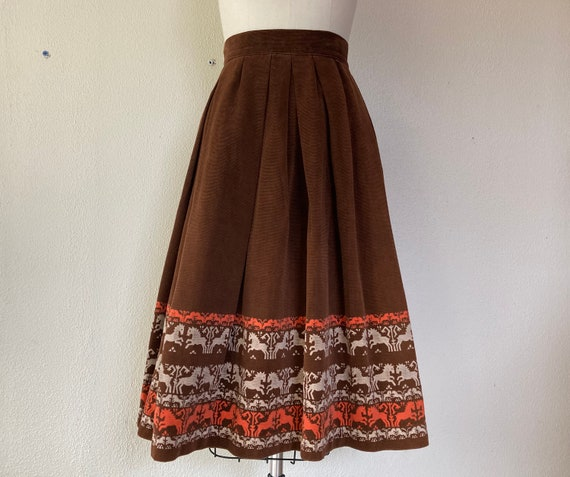 1950s Brown corduroy skirt with horse border print