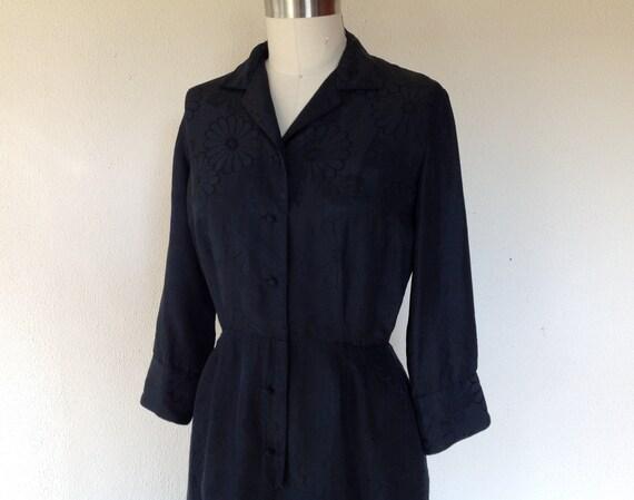 1960's Black silk shirtwaist dress