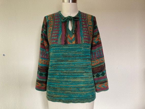 1970s Space dyed bell sleeve pullover sweater