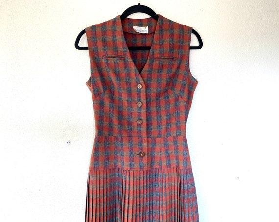 1960s Plaid wool pinafore dress