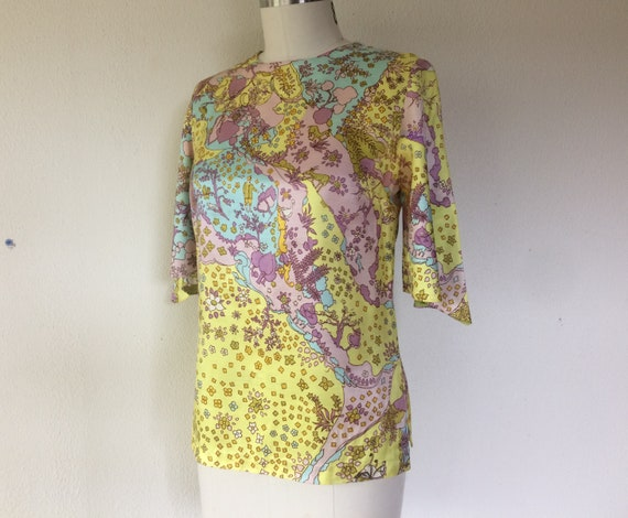 SALE 1960s Psychedelic print blouse - image 4