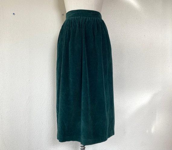 Pencil Skirt Dark Academia Aesthetic Pleated High Waist Minimal Secretary Skirt 90s High Waist Forest Green Wool Midi Skirt Size 8