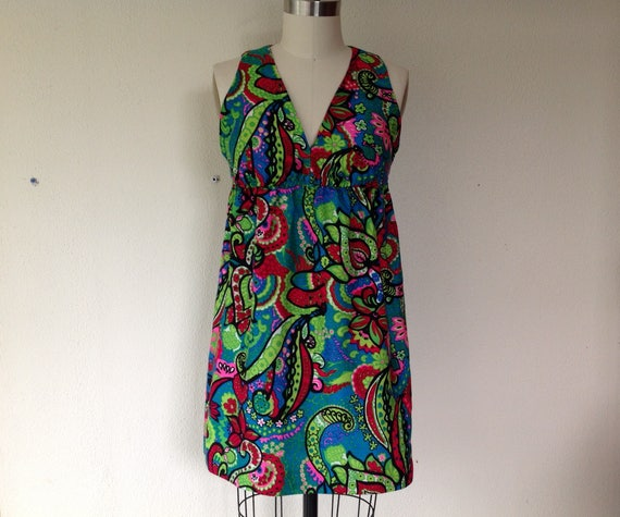 1960s Psychedelic print mini dress