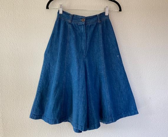 1970s blue denim culottes