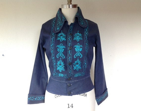 1970s embroidered denim jacket