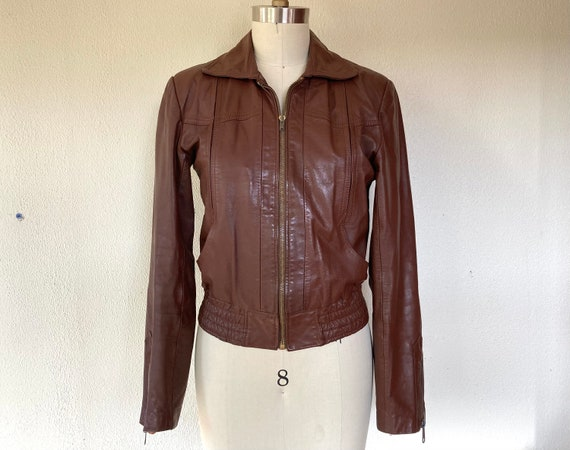 1970s Brown leather bomber jacket