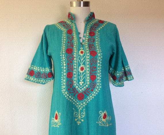 1960s Embroidered cotton caftan dress