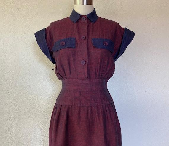 1980s Albert Nipon linen striped dress