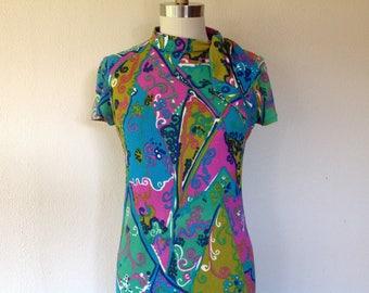 1960s Groovy psychedlic shift dress