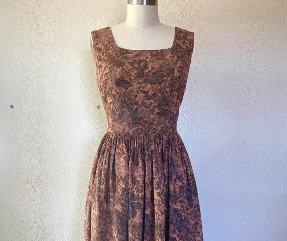 1960s Brown floral sun dress