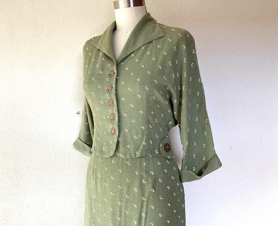 1950s Sage linen skirt suit