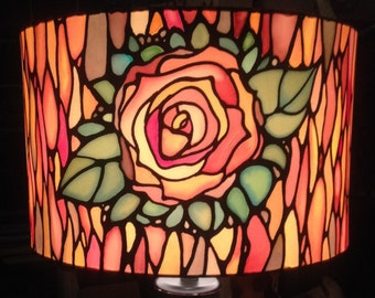 Tiffany Style, Hand Silk Painted Rose Lamp Shade, Large 40cm Drum, Made To Order.