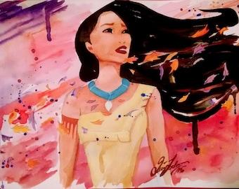 Pocahontas watercolor print, Disney's Pocahontas, Disney princess fanart watercolour, cartoon character, gift for girl, children's art print