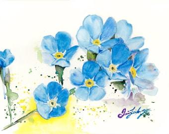 Forget-me-nots watercolor print blue flowers painting flowers art forget me nots art forget me nots painting floral art print flowers print