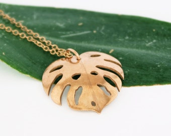 Copper Palm Leaf Pendant, Tropical Leaf Necklace, Philodendron Jewelry, Monstera Leaf, Leaf Design Necklace, Gift for Her, Palm Leaf Jewelry