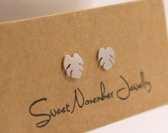 Silver Leaf Studs, Tropical Leaf Earrings, Handmade from Sterling Silver, Beach Theme Studs,Tiny Leaves Studs, Tropical Jewelry, Leaf Studs