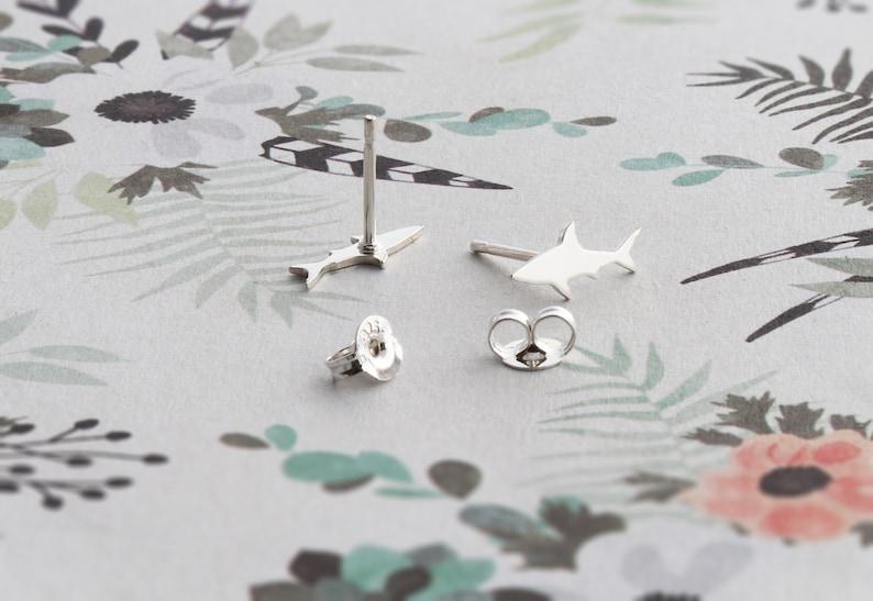 Handmade Shark Jewelry Silver Post Earrings Sea Animals Theme Earrings Baby Shark NEW Shark Design Sterling Silver Stud Earrings