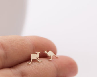 Kangaroo Studs, Handmade from Sterling Silver, Australian Animal Earrings, Australian Jewelry, Kangaroo Earrings, Silver Kangaroo Studs