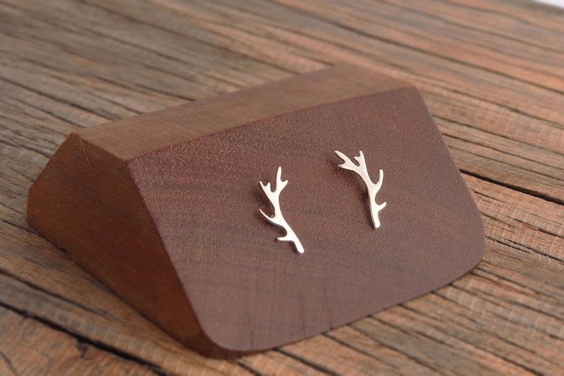 Silver Antler Studs Post Earrings Handmade NEW Smaller Sized Antler Earrings in Sterling Silver Rustic Woodland Deer Jewelry,Gift for Her