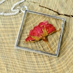 Real Carnation Flower Necklace, silver flower necklace real flower necklace real flower jewelry under 50 real carnation necklace