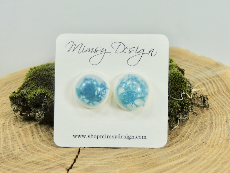 Real Moss Earrings  Blue Moss  Botanical Jewelry  Pressed image 0