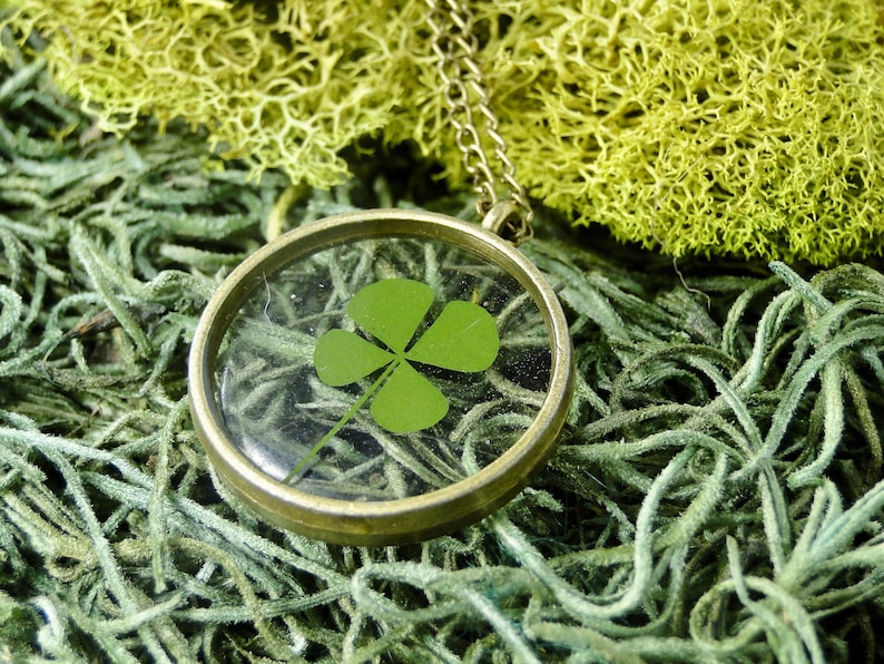 Real Clover Necklace Four leaf clover jewelry tiny clover image 0